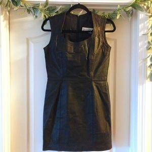 Leather Sheath Dress Mini Black Bodycon Sexy Real
